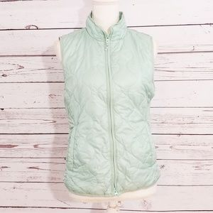 Used, J. Crew mint quilted high neck sleeveless vest for sale
